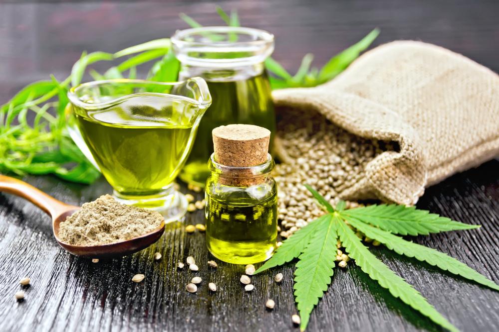oleje w towarzystwie ziaren i liści